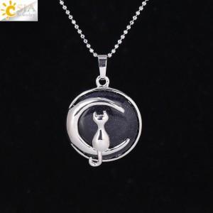 """Pakabukas """"Medalionas su katinuku 3"""" (45 cm, 3.8 x 2.7 cm)"""