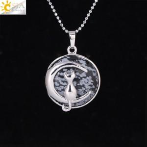 """Pakabukas """"Medalionas su katinuku 4"""" (45 cm, 3.8 x 2.7 cm)"""