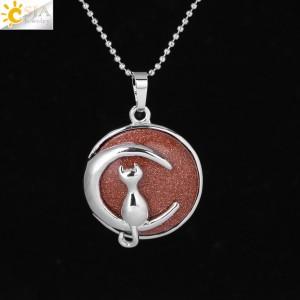 """Pakabukas """"Medalionas su katinuku 5"""" (45 cm, 3.8 x 2.7 cm)"""
