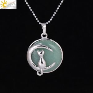 """Pakabukas """"Medalionas su katinuku 6"""" (45 cm, 3.8 x 2.7 cm)"""