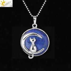 """Pakabukas """"Medalionas su katinuku 7"""" (45 cm, 3.8 x 2.7 cm)"""