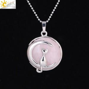 """Pakabukas """"Medalionas su katinuku 8"""" (45 cm, 3.8 x 2.7 cm)"""