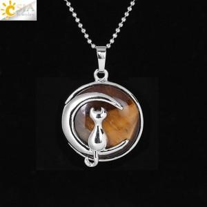 """Pakabukas """"Medalionas su katinuku 10"""" (45 cm, 3.8 x 2.7 cm)"""
