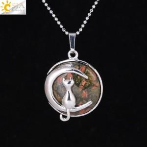 """Pakabukas """"Medalionas su katinuku 12"""" (45 cm, 3.8 x 2.7 cm)"""