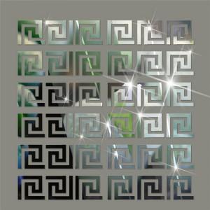 """Veidrodiniai lipdukai """"Sidabriniai graikiški ornamentai 2"""" (4.8 x 4.8 cm, 10 vnt.)"""