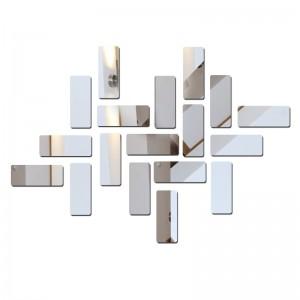 """Veidrodiniai lipdukai """"Sidabriniai stačiakampiai"""" (15 x 6 cm, 18 vnt.)"""
