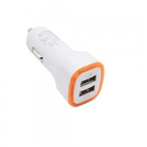"""USB įkroviklis automobiliui """"Greitai pakrausiu 10"""" (5V 2.1A, 1A)"""