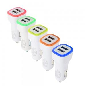 """USB įkroviklis automobiliui """"Greitai pakrausiu 12"""" (5V 2.1A, 1A)"""