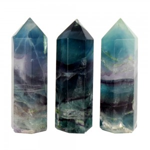 """Natūralus mineralas """"Spalvotasis obeliskas 5"""" (floritas, 6 x 1.8 cm)"""