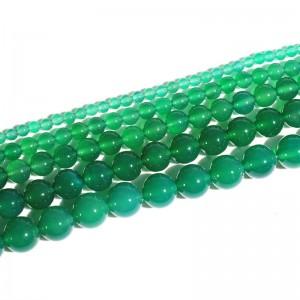 """Karoliukai """"Žalioji elegancija 2"""" (žaliasis agatas)"""