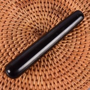 """Juodojo obsidiano masažinė lazdelė """"Intimate Pro"""" (11 cm)"""