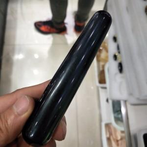 """Juodojo obsidiano masažinė lazdelė """"Intimate Pro"""" (10 cm)"""