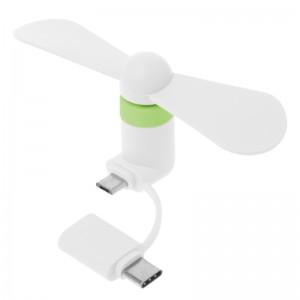 """Nešiojamas ventiliatorius """"Telefonui 3"""" (Type C ir Micro USB)"""