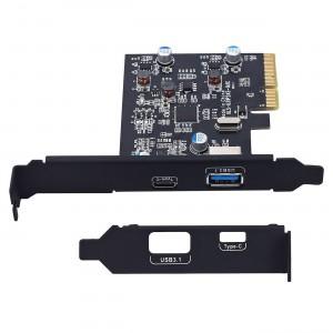 """PCI Express į USB 3.0 ir Type C plokštė """"Black Edition Pro GT"""" (išorinės USB jungtys)"""