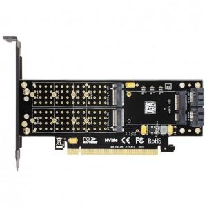 "M.2 į PCI-E 3.0 X16 plokštė ""Black edition Pro 9"" (NVME, NGFF, SSD, AHCI SATA)"