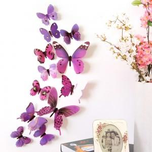 """Šviečiantys lipdukai """"Violetiniai drugeliai 2"""" (12 vnt.)"""