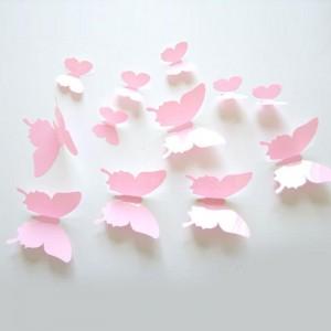 """Veidrodiniai lipdukai """"Rožiniai drugeliai 3"""" (12 vnt.)"""