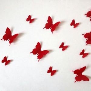 """Veidrodiniai lipdukai """"Raudonieji drugeliai 3"""" (12 vnt.)"""