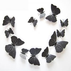 """Veidrodiniai lipdukai """"Juodieji drugeliai"""" (12 vnt.)"""