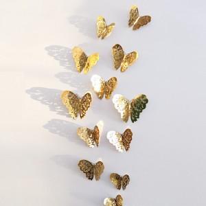 """Veidrodiniai lipdukai """"Stilingieji drugeliai"""" (12 vnt.)"""