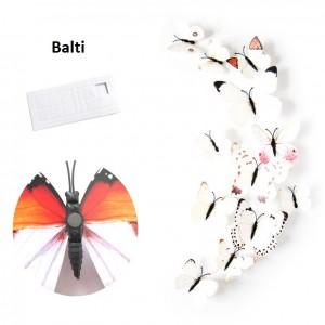 """Veidrodiniai lipdukai """"Baltieji drugeliai"""" (12 vnt.)"""