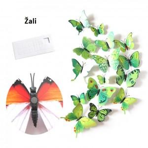 """Veidrodiniai lipdukai """"Žalieji drugeliai 4"""" (12 vnt.)"""