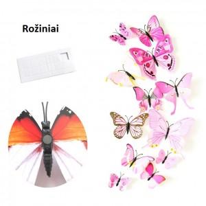 """Veidrodiniai lipdukai """"Rožiniai drugeliai 4"""" (12 vnt.)"""