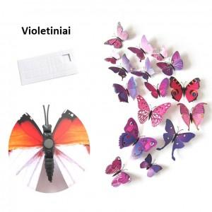 """Veidrodiniai lipdukai """"Violetiniai drugeliai 4"""" (12 vnt.)"""
