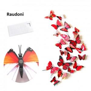 """Veidrodiniai lipdukai """"Raudonieji drugeliai 4"""" (12 vnt.)"""