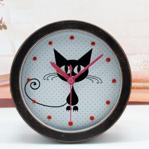"""Būgninis laikrodis """"Katino džiaugsmas"""" (juodas)"""