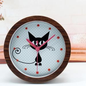"""Būgninis laikrodis """"Katino džiaugsmas"""" (rudas)"""