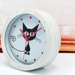 """Būgninis laikrodis """"Katino džiaugsmas"""" (baltas)"""