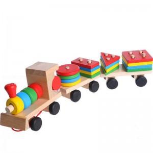 """Medinis traukinys su kaladėlėmis """"Traukinukas Nukas"""""""