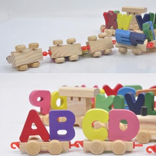 """Medinis traukinys su raidelėmis """"Traukinukas Nukas 2"""""""