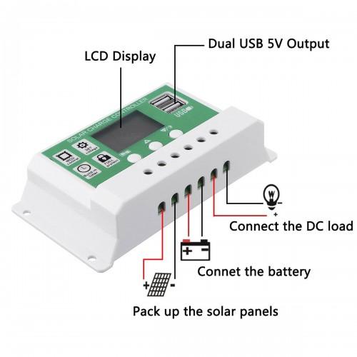 Saulės baterijos valdiklis - įkroviklis 10A