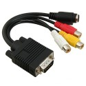 VGA į Video TV Out S-Video AV, 3 RCA Female adapteris