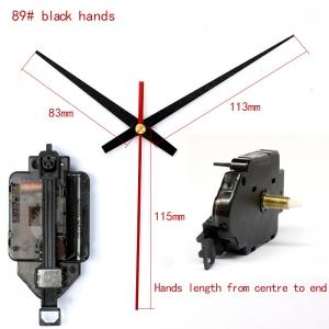 """Sieninio laikrodžio mechanizmas """"Du juodi kardai su raudona rodykle"""" (15mm ašis)"""