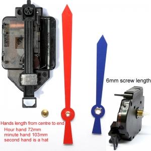 """Sieninio laikrodžio mechanizmas """"Raudonas ir mėlynas kardas"""" (6mm ašis)"""