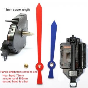 Sieninio laikrodžio mechanizmas Raudonas ir mėlynas kardas (11mm ašis)