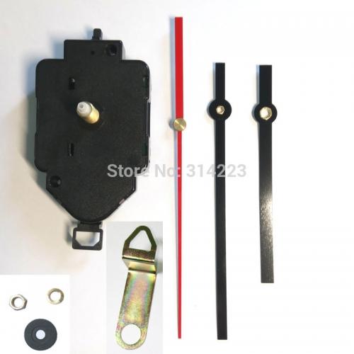 """Sieninio laikrodžio mechanizmas """"Juodoji klasika su raudona rodykle"""" (16mm ašis)"""