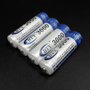 4 įkraunamos BTY 3000mAh AA baterijos