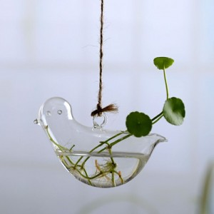 """Pakabinama stiklinė vaza """"Puikusis paukštis"""" (8 x 12 cm)"""