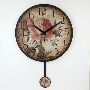 """Sieninis laikrodis """"Romantiškos gėlės 2"""" (su švytuokle)"""