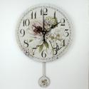 """Sieninis laikrodis """"Prancūziškos šviesios gėlės"""" (su švytuokle)"""