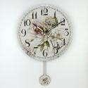 """Sieninis laikrodis """"Prancūziškos šviesios gėlės 2"""" (su švytuokle)"""