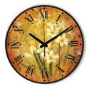 """Sieninis laikrodis """"Gėlių romantika geltoname fone 2"""""""