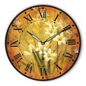 """Sieninis laikrodis """"Gėlių romantika geltoname fone 3"""""""