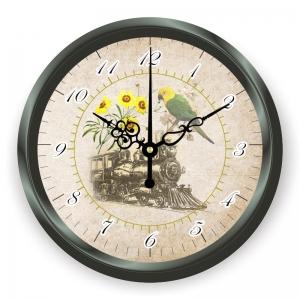 """Sieninis laikrodis """"Senasis garvežys ir spalvotoji papūga"""""""