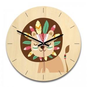 """Sieninis laikrodis """"Puikusis liūtas"""" (28 x 28 cm, medinis)"""