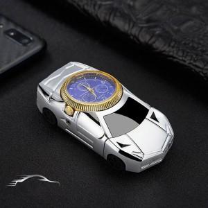 """Laikrodis žiebtuvėlis """"Sidabrinis automobilis 5"""" (atsparus vėjui)"""